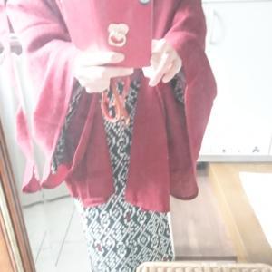 今日のコーデ☆銘仙キモノ