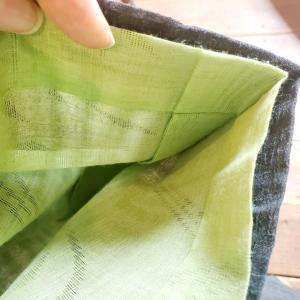 サロンの日の着物コーデ、自分で染めた麻長襦袢がいい感じ