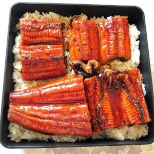 お昼は鰻重を作り