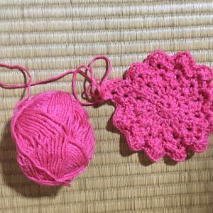 編み物教室 アクリル毛糸で巾着