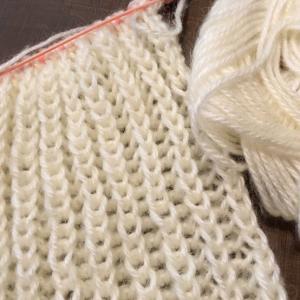 編み物教室 イギリスゴム編み モヘア糸、野呂英作糸