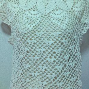 かぎ針編み 襟ぐりから編むパイナップル柄フレンチスリーブ