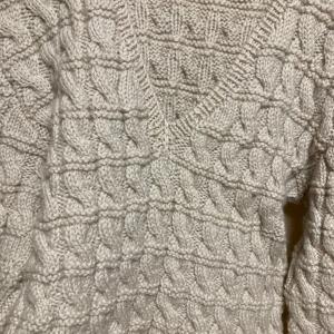 編み物教室 昔、父親に編んだ縄柄のセーター