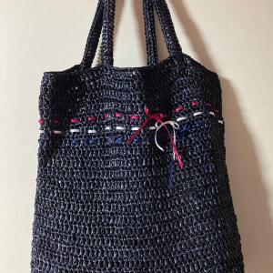 編み物教室 アンダリアの糸で、夏物バック