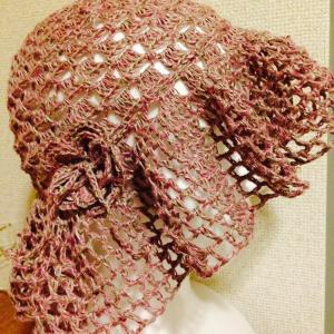 編み物教室 かぎ針編み麻糸の風通しの良い帽子