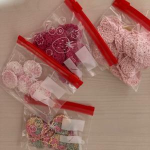 編み物教室 小さいモチーフ管理は、キッチンジッパーで