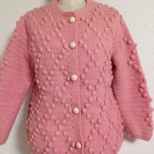 編み物教室 長編みとパップコーンのジャケット