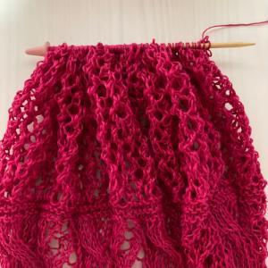 編み物教室 棒針編み麻糸で穴あき模様