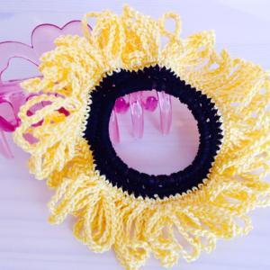 編み物教室 夏の花ヒマワリをイメージしてシュシュ作り