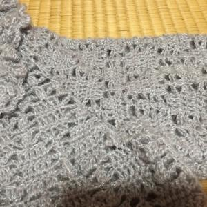 編み物教室 袖付け作業の生徒さん