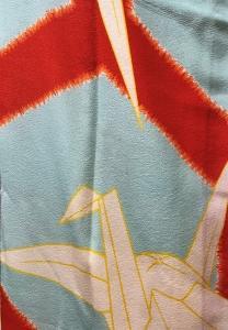 亀甲に織鶴の長襦袢