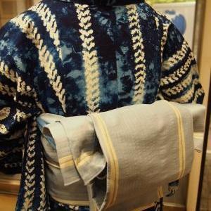 竹の柄の絞りの浴衣