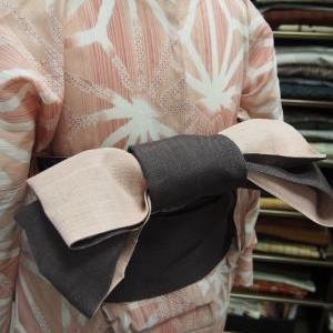 麻の葉の浴衣に麻の半幅帯