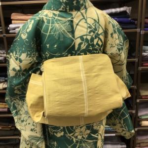 ツートンカラーの麻の夏着物