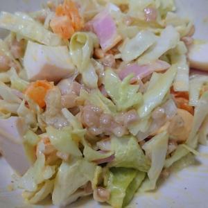 〇今日の納豆料理59「たまご納豆サラダ」