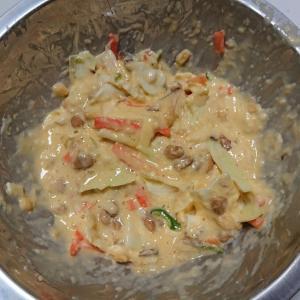 ◎今日の納豆料理74「山芋入り納豆お好み焼き」