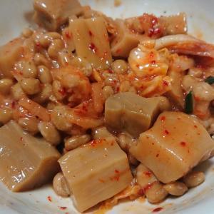 〇今日の納豆料理77「納豆キムチメンマ」