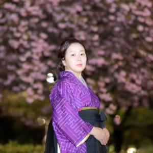 【ロケーション撮影】自分のプロフィール写真を夜桜写真で撮ってもらいました