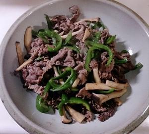 牛肉とピーマン炒め