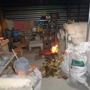 穴窯 窯焚き。