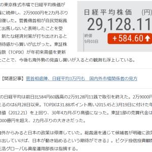 皮肉にも、菅首相が総裁選不出馬により株価は急騰