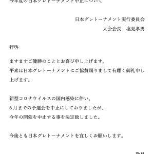 今年度の日本グレトーナメント中止について