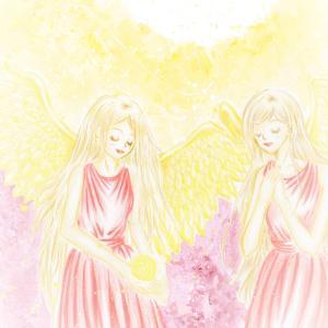 オーダーいただいた、守護天使アートをお描きしました。