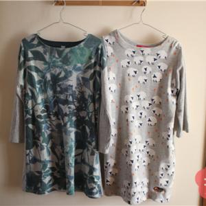 ごみ出しに行けるパジャマ。ホットコット上下×グラニフワンピースで、冬も暖かく。