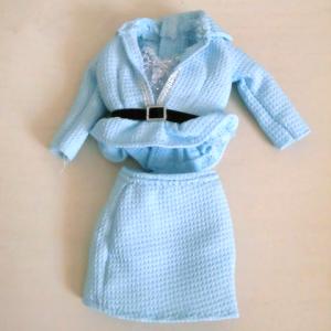 パステルブルーのミニスカスーツ@ジェニー服