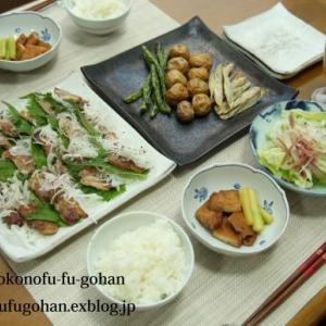 昨夜の豚肉の葱レモンソース&野菜の素揚げおうちバル&ひとりごはん