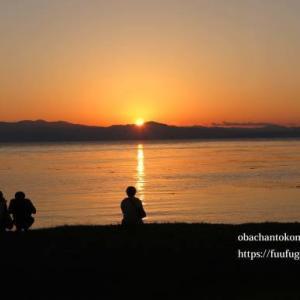 琵琶湖の夕暮れ散歩