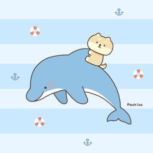 イルカにのる柴犬