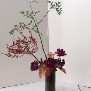 自画自賛の生け花に秋を感じる