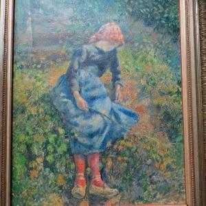 パリ オルセー美術館 カミーユ・ピサロ 羊飼いの娘 小枝を持つ少女 座る農家の娘 1881年 ミレーに似ていませんか・・・!?