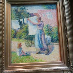 カミーユ・ピサロ 新印象派時代 点描画法 オルセー美術館 洗濯物を干す女性 1887年 Femme etendant du linge 1887 スーラとシニャックの作品を近づいて比較してみましょう〜