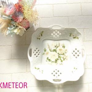 【生徒さまの作品】ポーセラーツ☆お花柄プレート ホワイト