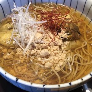 【福井市】福井市内の超人気蕎麦屋さんにて「焼き茄子と鶏そぼろの冷やかけそば」 「辛味おろしそば」(蕎麦やすたけ)