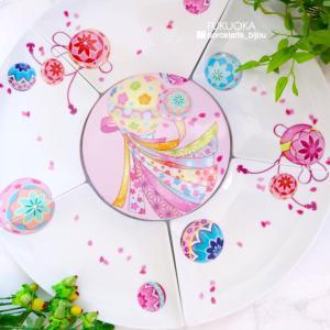 ◆ 手毬の扇皿と桜のお重箱 ◆