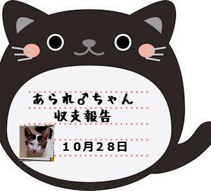 あられ♂ちゃん収支報告 10月28日分
