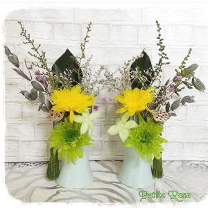 そろそろお彼岸の時期ですね皆様にお作り頂いたプリザーブドフラワー対の仏花...