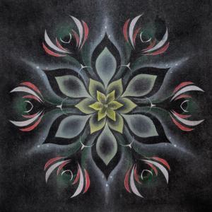翠パステル闇の華 一緒に描いた私の 黒い曼荼羅です♪