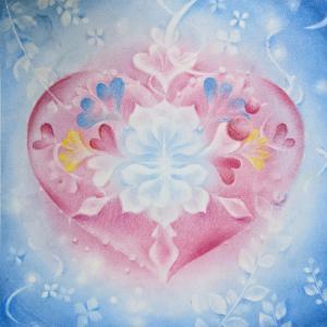 レッスンで描いた 結晶の花アート 優花