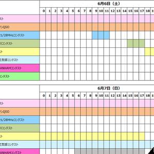 <混乱必至!? 地域限定も入れると計8つ>6月6日(土)と7日(日)、今週末の国内コンテストの日別&時間帯リストを作ってみた