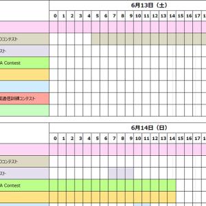 <6月13日(土)と14日(日)の2日間、合計8つ>今週末も国内コンテストが乱立! 先週に引き続き日別&時間帯リストを作ったぞ