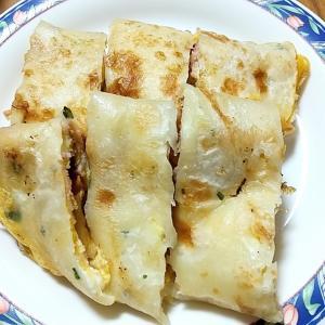 【台湾グルメ】台湾の朝ごはん『蛋餅(ダンピン:ネギクレープ)』を作ってみました^^