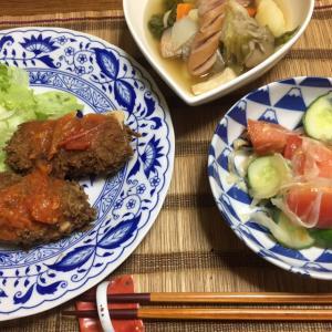 グラタンコロッケ、ポトフ、トマトときゅうりのサラダ