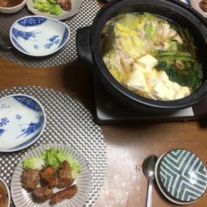 ミルフィーユ鍋、鰹の竜田揚げ