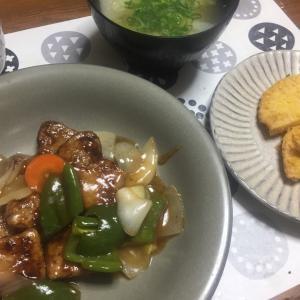 酢豚、ハトミン、小カプの味噌汁