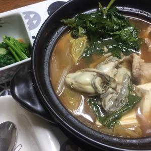 牡蠣の味噌鍋、菜の花の辛子和え