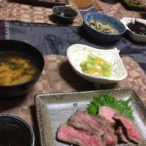 ローストビーフ、蕗の芥子酢味噌和え、ウドとワカメのお味噌汁